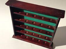 Wall 25 golf ball curio display mahogany finish wood open shelf cabinet