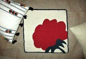 Op Art Needlepoint Pillow Red Blue Ivory Big Modern Flower Square Throw Pillow