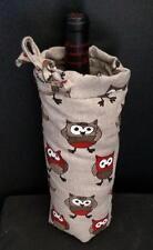 Orange Owl Bird Pattern Single Wine Bag Lithuania Cotton Linen