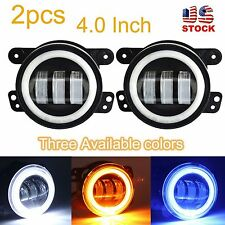 "2x 4""Inch 30W Cree Led Fog Light & Halo Angle Eyes for 07-16 Jeep Wrangler Dodge"
