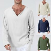 Mens Fall Slim Fit T-Shirt Cotton Linen Loose Shirt V-Neck Beach Yoga Top Blouse