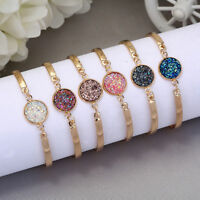 New Women Natural Geode Stone Bangles Rhinestone Pave Bracelet Gift Adjustable