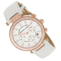 100% New Michael Kors Ladies Parker Rose Gold White Leather Women Watch MK2281