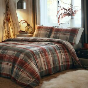 Connolly Red/Grey Tartan Check Cosy Flannelette,Brushed Cotton Duvet Cover Sets.