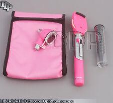 Fiber Optic Otoscope Ophthalmoscope Examination Led Diagnostic Ent Set Kit Pink