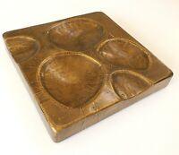 """Vintage 12"""" Copper Bronze Repousse Square Brutalist Sculpture Wall Art MCM"""