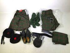 Traditional Scottish Gordon Tartan Kilt Set Includes Shoes and 2 Glengarry Hats