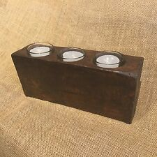 Reclaimed Old Wood Sugar Mold Candleholder w/ Glass Inserts & 3 Votive Candles