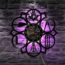 Masonic Free Mason Logo Vinyl Wall Clock LED Back Lighting Home Decor