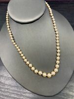 "Cream Glass Pearl 16"" Inch Hand Knotted Necklace Gold Finish Box Clasp"