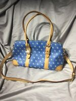 DOONEY & BOURKE Signature Blue Coated Canvas Leather Satchel Shoulder Bag