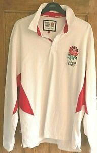 ENGLAND RUGBY UNION WHITE HOME LONG SLEEVE SHIRT POLO OFFICIAL LICENSED SIZE XXL