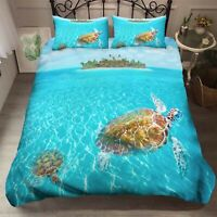 3D Animal Sea Turtle Quilt Cover Set Pillowcases Duvet Cover 3pcs Bedding 134