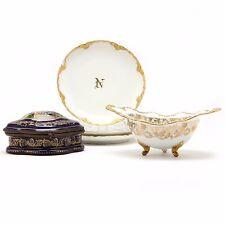Vintage Cobalt Decorated Porcelain Dresser Box and Limoges China