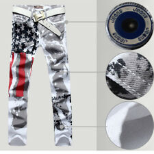 Men's Distressed Jeans Slim-fit Jeans Pants Trousers American Flag Jeans