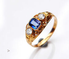 Vintage European Danish Ring solid 14K Gold Sapphire  7.75 US / 2.6