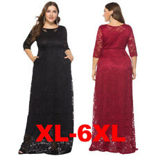 Women Full Lace Oversize Half Sleeves Evening Gown Wedding Party Long Maxi Dress
