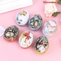 1pcs Vintage Easter Eggs Tin Metal Rabbit Gift Wedding Candy box Tinplate Case