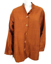 Harari Silk Blouse Womens Large Rust Button Front Pockets Top Mandarin Collar