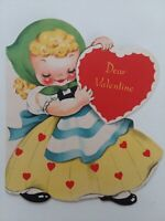 Vtg Bashful Blonde GIRL in Heart DRESS 1950s VALENTINE GREETING CARD