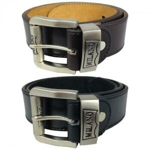 """MENS LEATHER BETS 1.5"""" JEANS BELT BY MILANO IN BLACK AND BROWN 2753"""