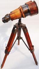 Nautical Antique Marin Vintage Binocular With Tripod Wooden Stand Desk Decor