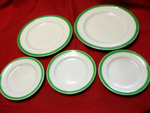 GREEN & GOLD -2 x DINNER PLATES +3 x Bread and Butter Side Plates(One is Meakin)
