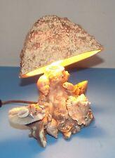 "Mushroom Sea Shell Lamp Vintage Beach Retro Electric 9""x 8"" Works Earthtones"