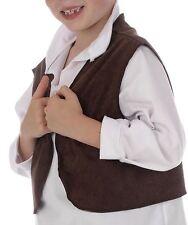 Kids Boy Brown Victorian Street Urchin *WAISTCOAT ONLY* Fancy Dress Oliver Twist