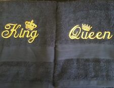 personalised embroidery bath towel set KING & QUEEN  - or add names instead
