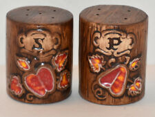 VINTAGE TREASURE CRAFT CALIFORNIA POTTERY TREE SALT PEPPER SET SHAKERS Original