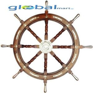 36'' Nautical marine wooden ship steering wheel brass anchor pirate wall decor