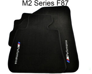 Floor Mats For BMW M2 Series F87 Black With ///M Performance Emblem LHD Clips