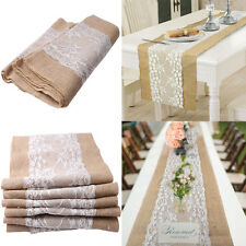Lace Burlap Hessian Wedding Table Runner Natural Jute Rustic Party Country Decor