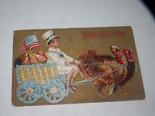 ANTIQUE POSTCARD THANKSGIVING patriotic boy driving cart turkey pulling