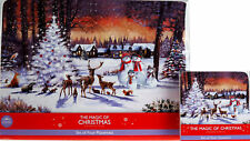 Set of 4 Snow Forest With Animals Christmas Dinner Place Mats and Coasters