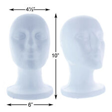 Styrofoam Foam Mannequin Wig Head Display Hat Cap Wig Holder White Foam Male 10""
