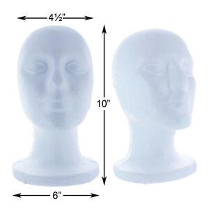 """Styrofoam Foam Mannequin Wig Head Display Hat Cap Wig Holder White Foam Male 10"""""""