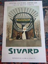 Hommage A Guimard  Vintage Original 1971Sivard Lithograph Gallery Mourlot Poster