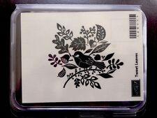 """TWEET LEAVES"" Stampin'UP! NEW~WOOD unmounted-NLA~set/1 Fall Leaves~Bird~"