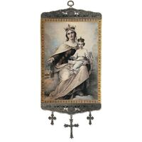 Blessed Virgin Mary Our Lady of Mount Carmel Tapestry Icon Banner 18 Inch