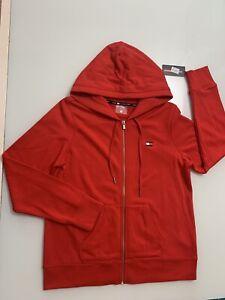 Tommy Hilfiger Hoodie Full Zip Sweatshirt Flag Logo Red Jumper NWT Size X Large