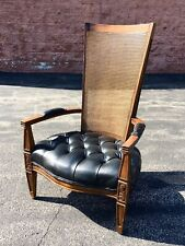 Antique Cane Leather High Back Chesterfield Arm Chair Tufted Mid Century Regency