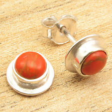 """Copper Turquoise Silver Plated Jewelry Girls Fashion 0.4"""" Earrings, Orange"""