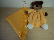 """Hallmark Teddy Bear Lovey with Security Blankie Blanky Yellow Satin 18"""" Soft"""