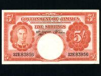 Jamaica:P-37b,5 Shillings,1957 * King George VI * VF+ *