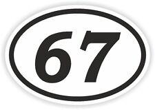 67 sixty-seven numero OVALE Adesivo Paraurti Decalcomania MOTOCROSS motociclo aufkleber