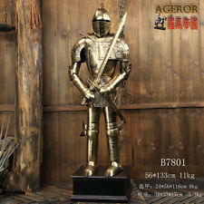 Hand Made MEDIEVAL KNIGHT CRUSADOR SUIT OF METAL ARMOR 4.36FT