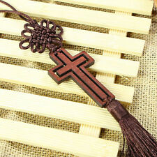 Wood Cross God Jesus Auto Car Rearview Mirror Chinese Good Luck Charms Pendant