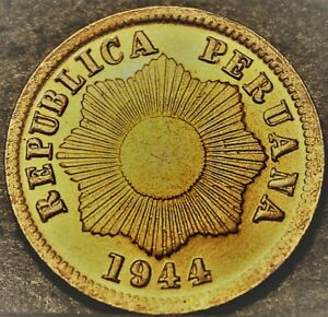 Peru Centavo, 1944 Gem Unc~Over 75 Years Old~Thin Planchet Variety~Free Shipping